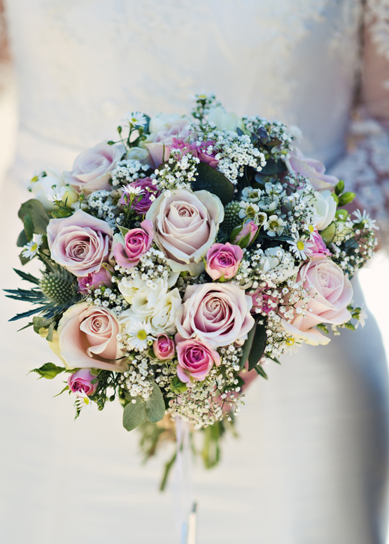 Vintage rustic pink wedding flowers bride bouquet at South Farm Cambridgeshire
