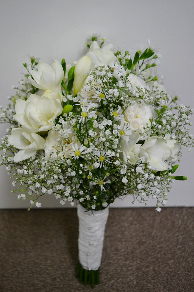 Boho chic wedding bride bouquet, bishops Stortford st michael's church wedding with marquee reception.