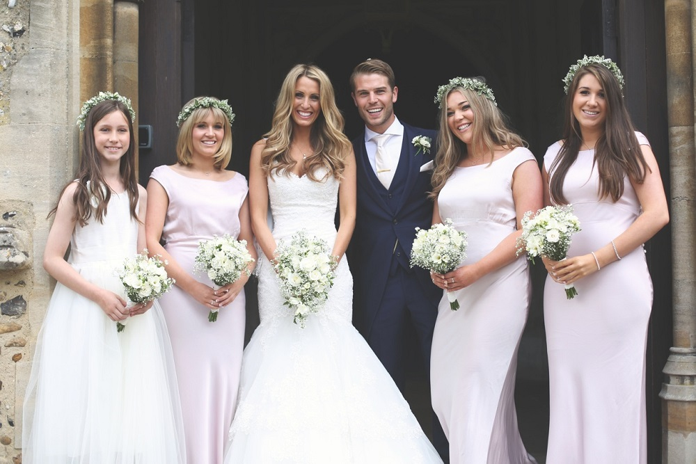 Boho chic wedding bride and bridesmaid bouquets , bishops Stortford st michael's church wedding with marquee reception.