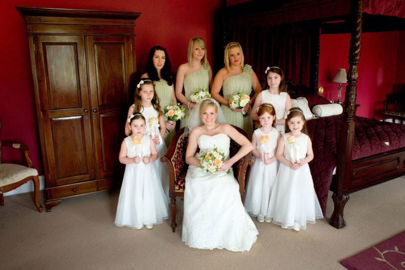 Peach and mint wedding flowers bride and bridesmaid bouquets Parklands Quendon Hall Essex