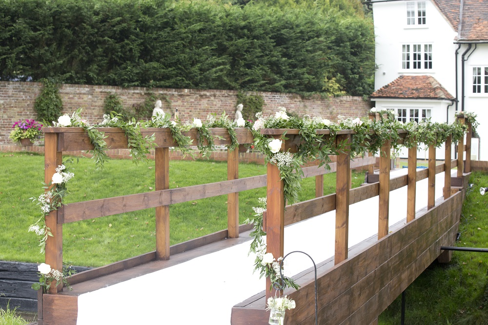 Enchanted secret garden wedding flowers in Hertfordshire, Widford Church and Much Hadham Marquee