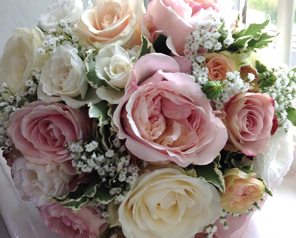 Vintage blush peach pink bouquet Wedding Flowers Much Hadham church Parklands Quendon Hall