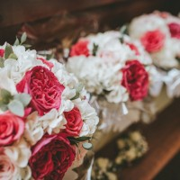 A close up of the bouquets with the garden roses popping