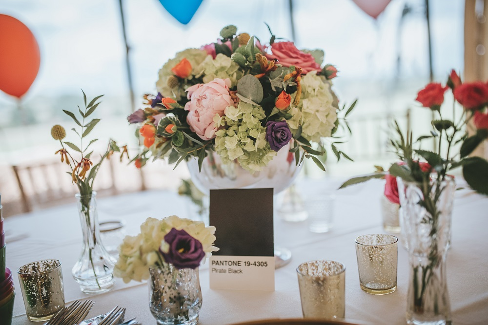 Blush grey/ or Vintage bright wedding flowers, mixture table display Theydon Garnon church Epping marquee
