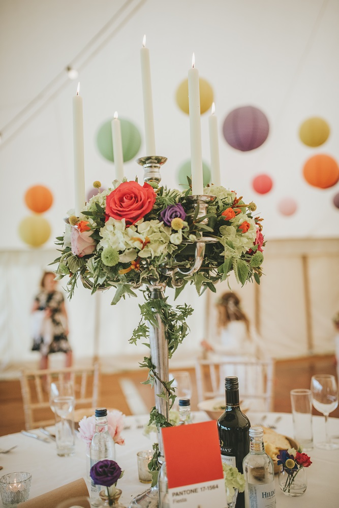 Blush grey/ or Vintage bright wedding flowers, candelabra table display Theydon Garnon church Epping marquee