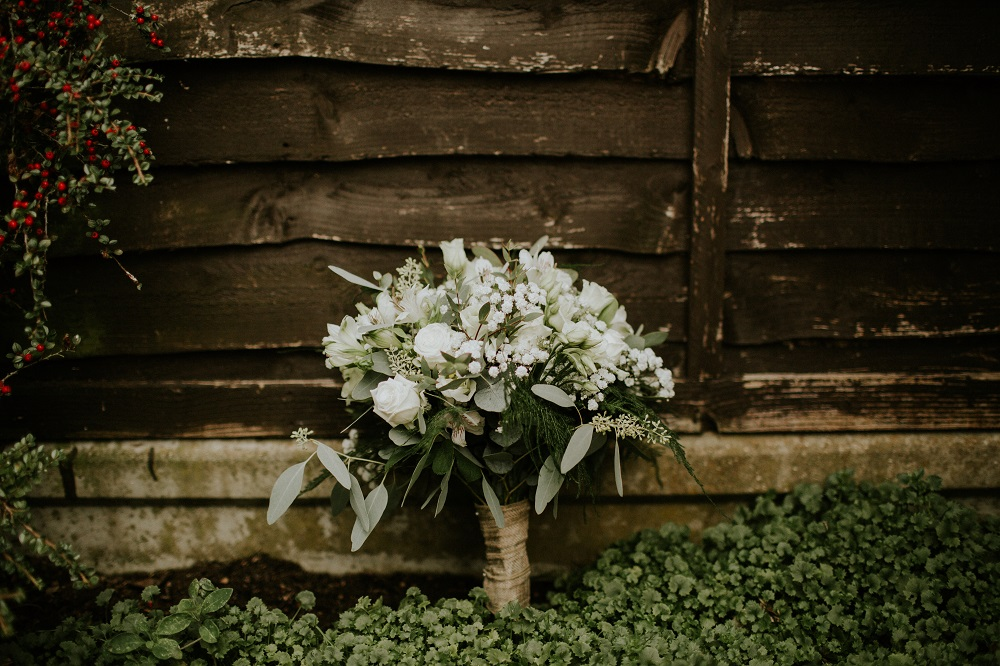 Hertfordshire florist wedding flowers rustic natural white green bride's bouquet Essendon country club
