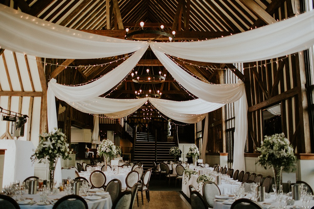 Hertfordshire florist wedding flowers rustic natural white green table displays Essendon country club