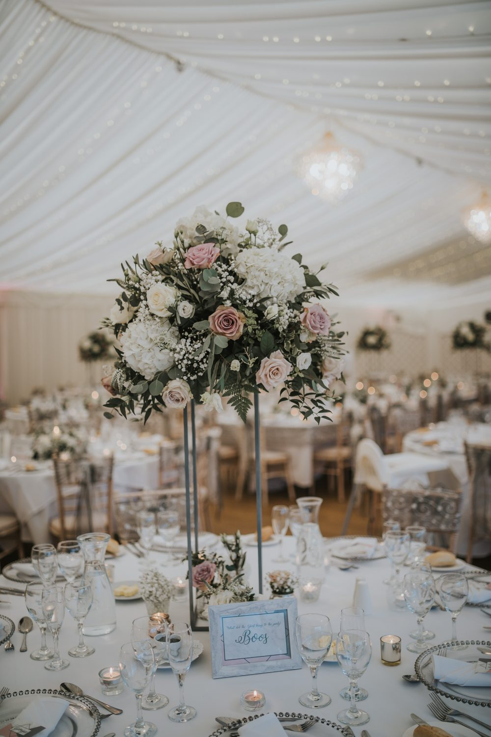 Large, tall centrepieces give the wow factor at Parklands.